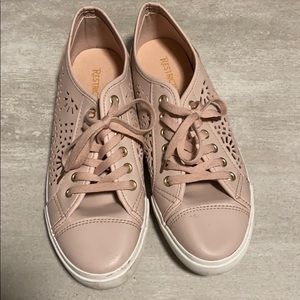 Restricted Pink blush laser cut sneakers